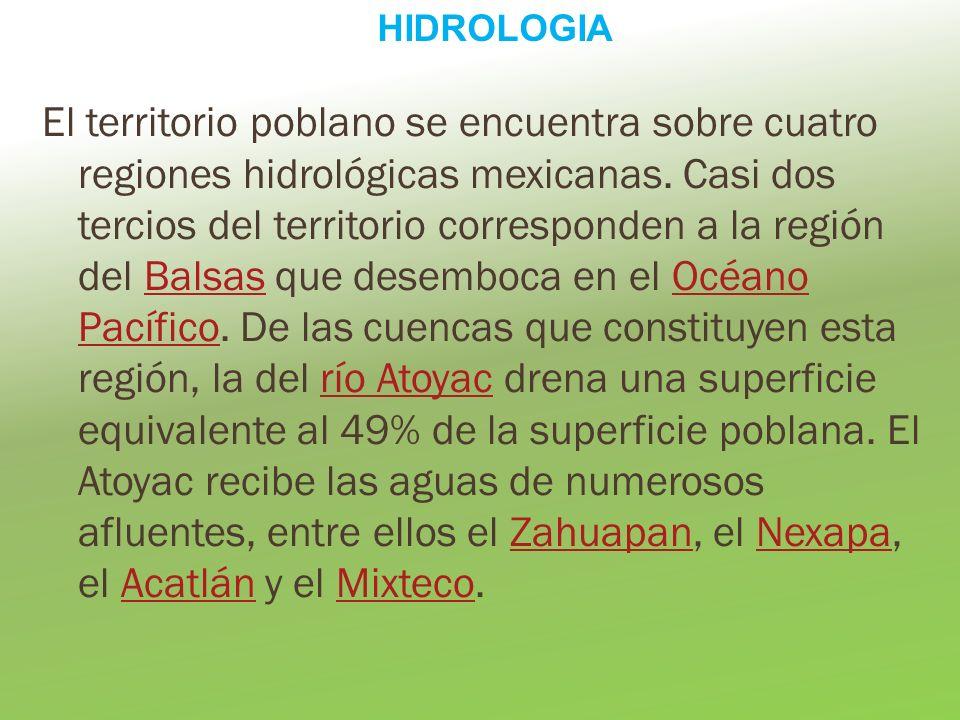 El territorio poblano se encuentra sobre cuatro regiones hidrológicas mexicanas. Casi dos tercios del territorio corresponden a la región del Balsas q