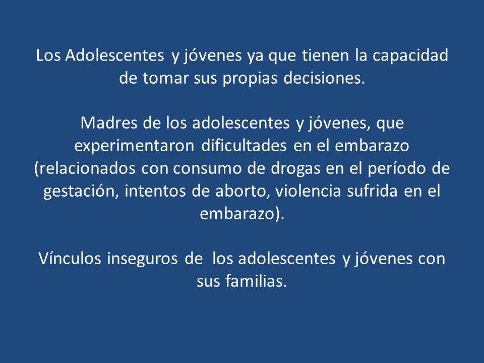Conflictos a nivel familiar (relacionado con problemas de comunicación en el hogar, separación de los padres, violencia intrafamiliar, ausencia de normas y límites, problemas en la gestión de reglas) Familias con un solo padre o monoparentales.