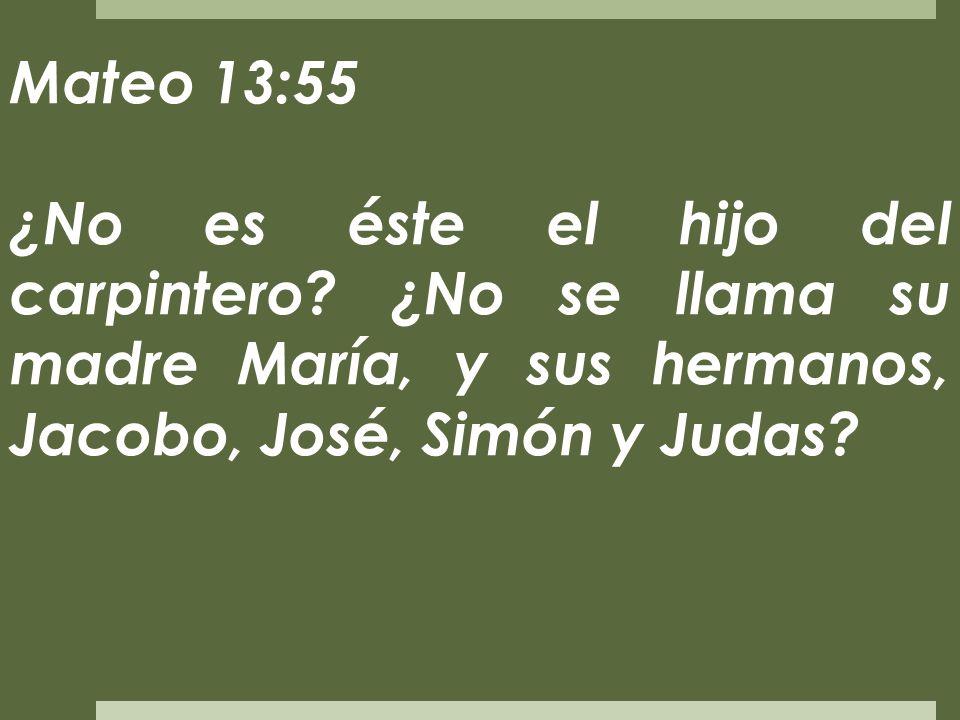 Mateo 13:55 ¿No es éste el hijo del carpintero? ¿No se llama su madre María, y sus hermanos, Jacobo, José, Simón y Judas?