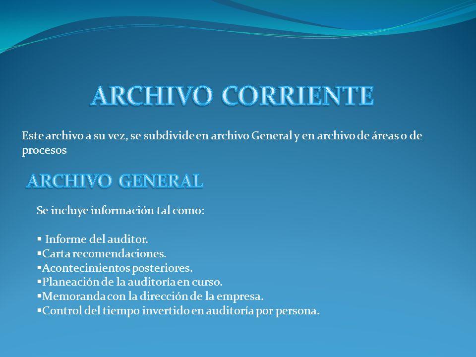 Los papeles de trabajo que el auditor va elaborando, se pueden organizar en dos archivos principales: El Archivo Permanente y el Archivo Corriente. Es