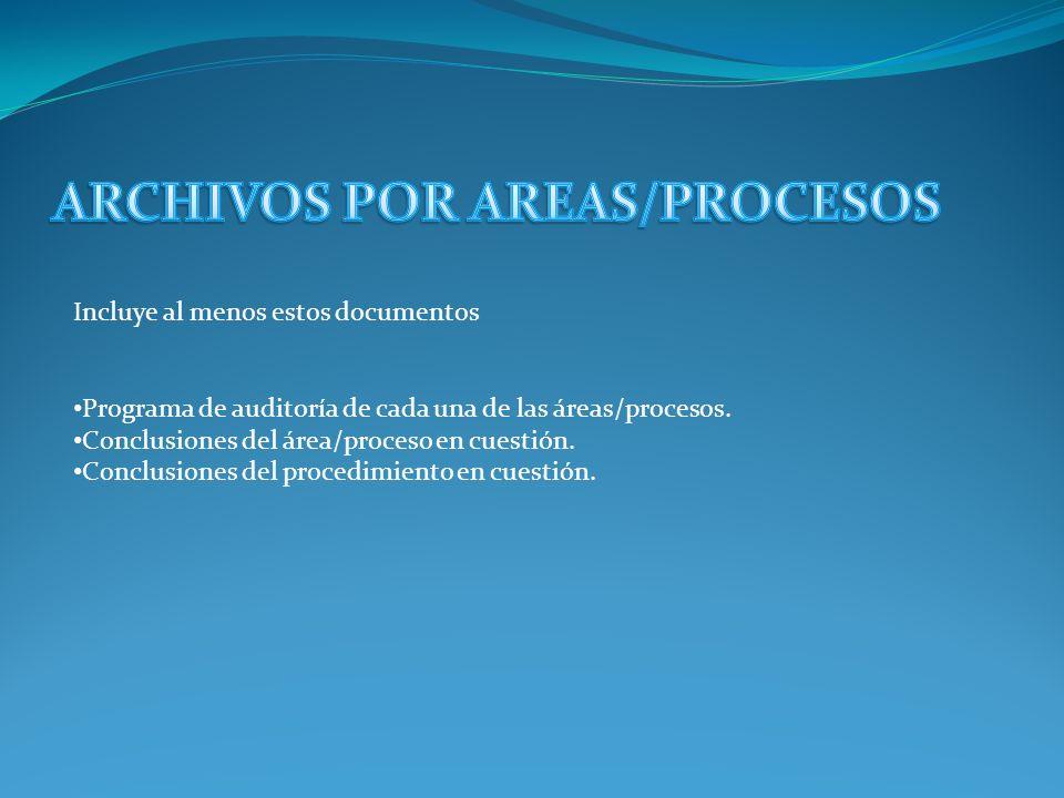 Este archivo a su vez, se subdivide en archivo General y en archivo de áreas o de procesos Se incluye información tal como: Informe del auditor. Carta