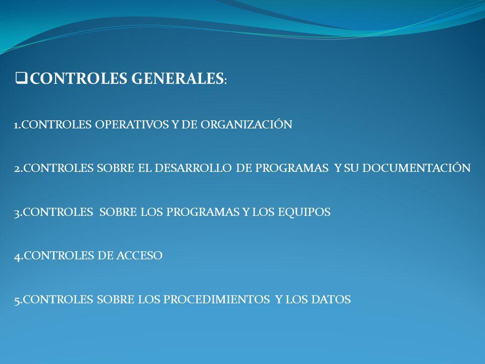 CONTROLES GENERALES CONTROLES DE APLICACIÓN
