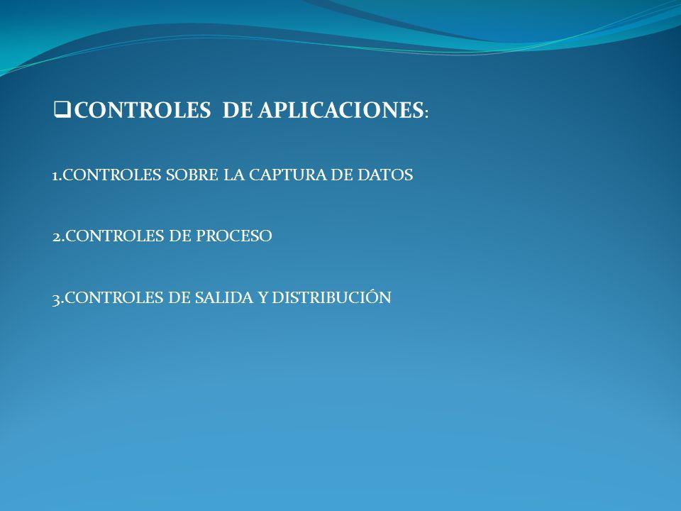 CONTROLES GENERALES : 1.CONTROLES OPERATIVOS Y DE ORGANIZACIÓN 2.CONTROLES SOBRE EL DESARROLLO DE PROGRAMAS Y SU DOCUMENTACIÓN 3.CONTROLES SOBRE LOS P