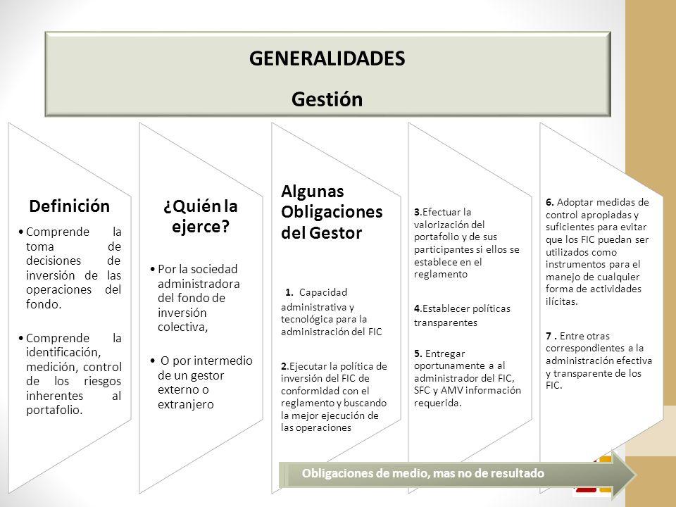 GENERALIDADES Gestión Definición Comprende la toma de decisiones de inversión de las operaciones del fondo.