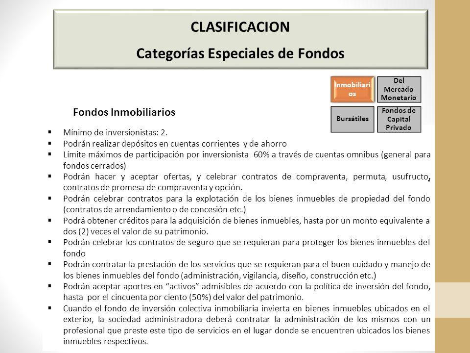 CLASIFICACION Categorías Especiales de Fondos Mínimo de inversionistas: 2.