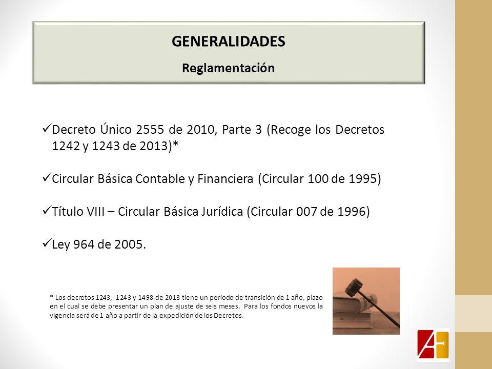 GENERALIDADES Reglamentación Decreto Único 2555 de 2010, Parte 3 (Recoge los Decretos 1242 y 1243 de 2013)* Circular Básica Contable y Financiera (Circular 100 de 1995) Título VIII – Circular Básica Jurídica (Circular 007 de 1996) Ley 964 de 2005.