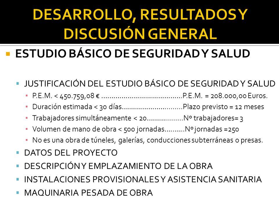 ESTUDIO BÁSICO DE SEGURIDAD Y SALUD JUSTIFICACIÓN DEL ESTUDIO BÁSICO DE SEGURIDAD Y SALUD P.E.M.