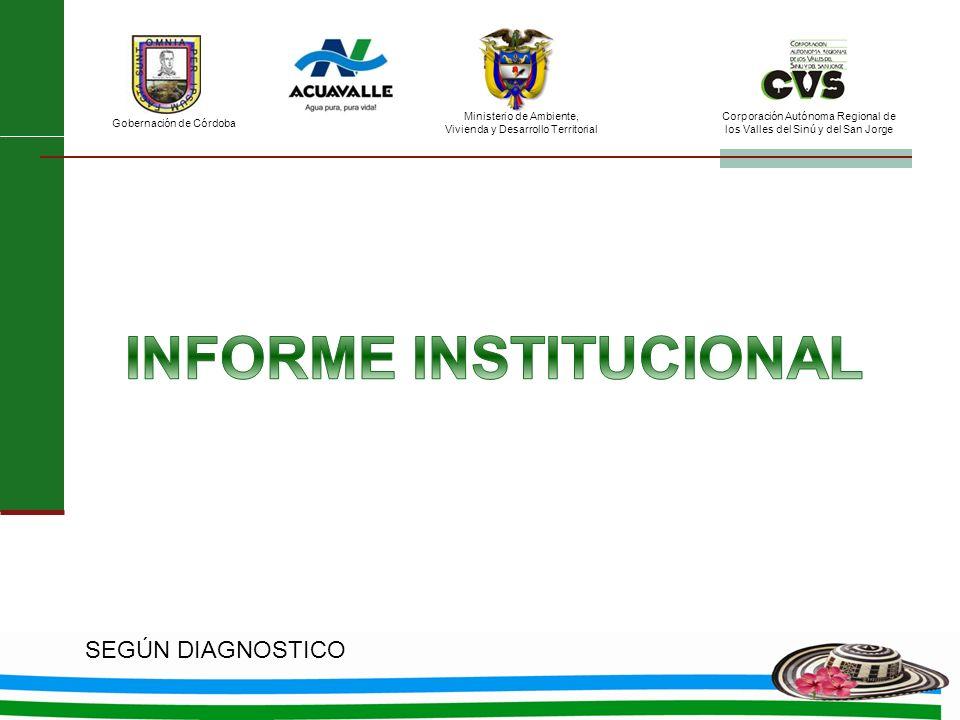 Ministerio de Ambiente, Vivienda y Desarrollo Territorial Gobernación de Córdoba Corporación Autónoma Regional de los Valles del Sinú y del San Jorge SEGÚN DIAGNOSTICO