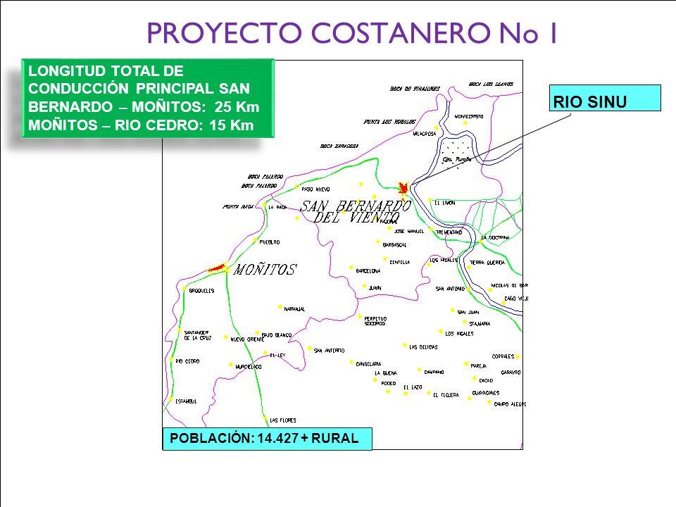 Ministerio de Ambiente, Vivienda y Desarrollo Territorial Gobernación de Córdoba Corporación Autónoma Regional de los Valles del Sinú y del San Jorge PROYECTO COSTANERO No 1 POBLACIÓN: 14.427 + RURAL RIO SINU LONGITUD TOTAL DE CONDUCCIÓN PRINCIPAL SAN BERNARDO – MOÑITOS: 25 Km MOÑITOS – RIO CEDRO: 15 Km LONGITUD TOTAL DE CONDUCCIÓN PRINCIPAL SAN BERNARDO – MOÑITOS: 25 Km MOÑITOS – RIO CEDRO: 15 Km