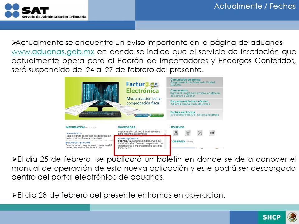 Actualmente / Fechas Actualmente se encuentra un aviso importante en la página de aduanas www.aduanas.gob.mxwww.aduanas.gob.mx en donde se indica que