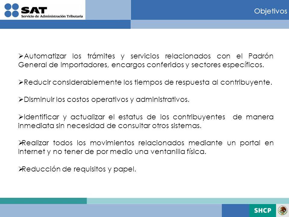 Objetivos Automatizar los trámites y servicios relacionados con el Padrón General de Importadores, encargos conferidos y sectores específicos. Reducir