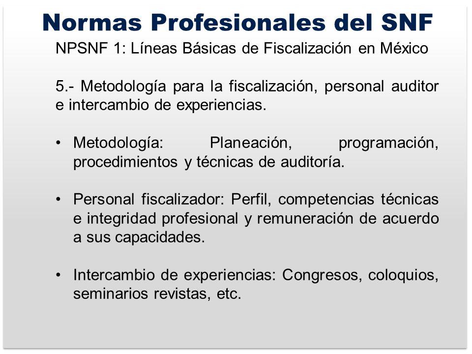 Normas Profesionales del SNF NPSNF 1: Líneas Básicas de Fiscalización en México 5.- Metodología para la fiscalización, personal auditor e intercambio de experiencias.