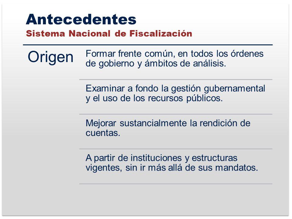 Antecedentes Sistema Nacional de Fiscalización Origen Formar frente común, en todos los órdenes de gobierno y ámbitos de análisis.