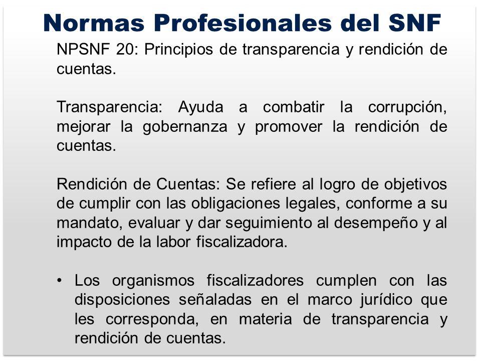 Normas Profesionales del SNF NPSNF 20: Principios de transparencia y rendición de cuentas.