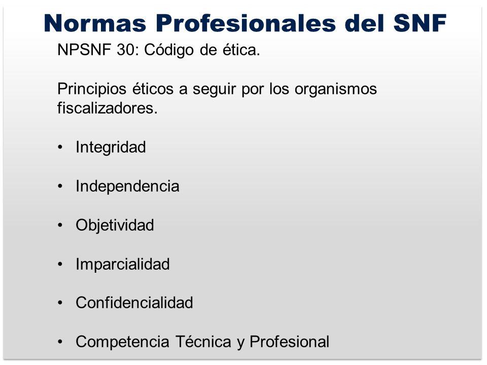 Normas Profesionales del SNF NPSNF 30: Código de ética.