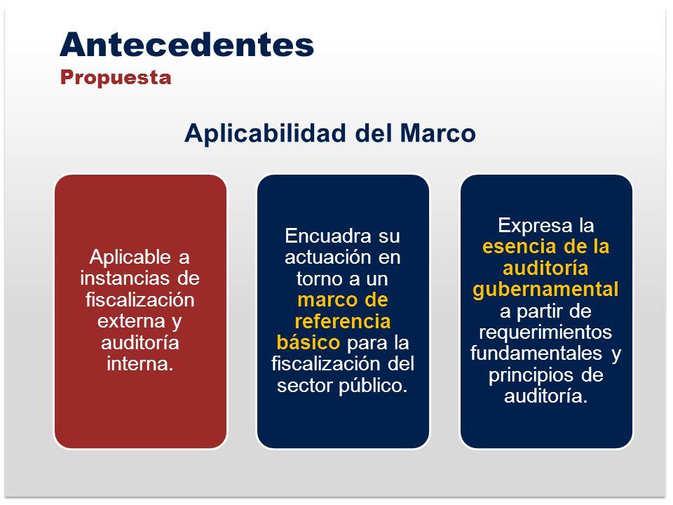 Antecedentes Propuesta Aplicable a instancias de fiscalización externa y auditoría interna.