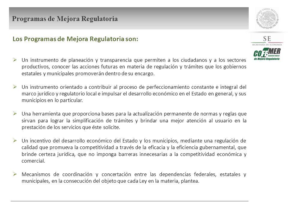 Los Programas de Mejora Regulatoria son: Un instrumento de planeación y transparencia que permiten a los ciudadanos y a los sectores productivos, cono
