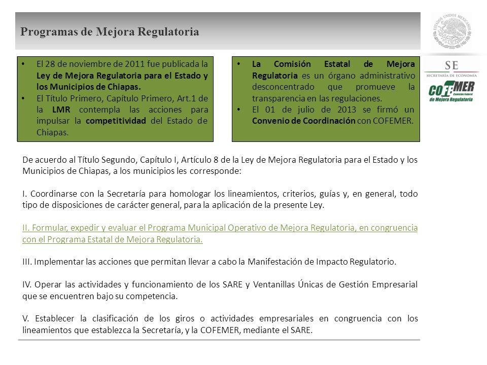 De acuerdo al Título Segundo, Capítulo I, Artículo 8 de la Ley de Mejora Regulatoria para el Estado y los Municipios de Chiapas, a los municipios les