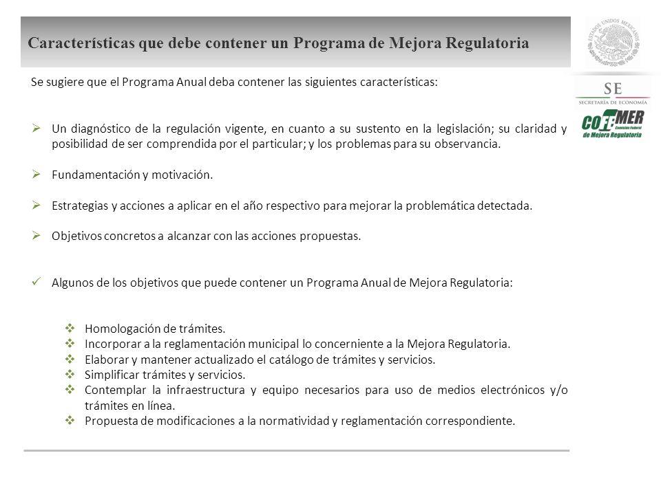 Se sugiere que el Programa Anual deba contener las siguientes características: Un diagnóstico de la regulación vigente, en cuanto a su sustento en la