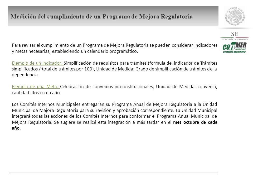Para revisar el cumplimiento de un Programa de Mejora Regulatoria se pueden considerar indicadores y metas necesarias, estableciendo un calendario programático.
