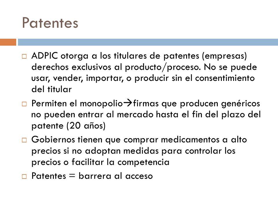 Patentes ADPIC otorga a los titulares de patentes (empresas) derechos exclusivos al producto/proceso. No se puede usar, vender, importar, o producir s