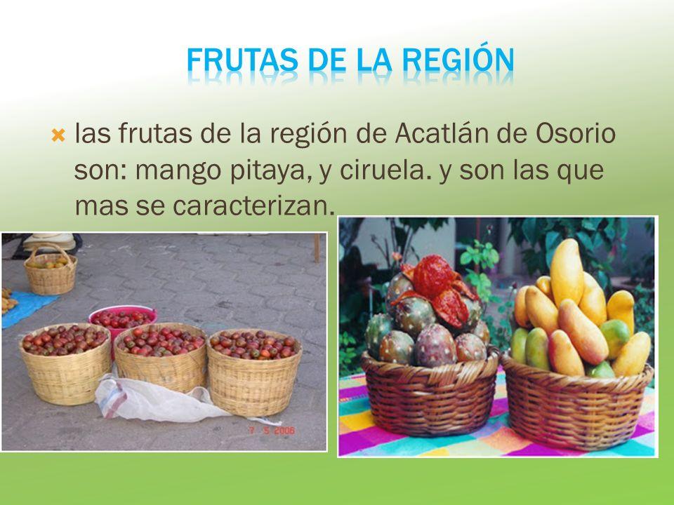 las frutas de la región de Acatlán de Osorio son: mango pitaya, y ciruela. y son las que mas se caracterizan.