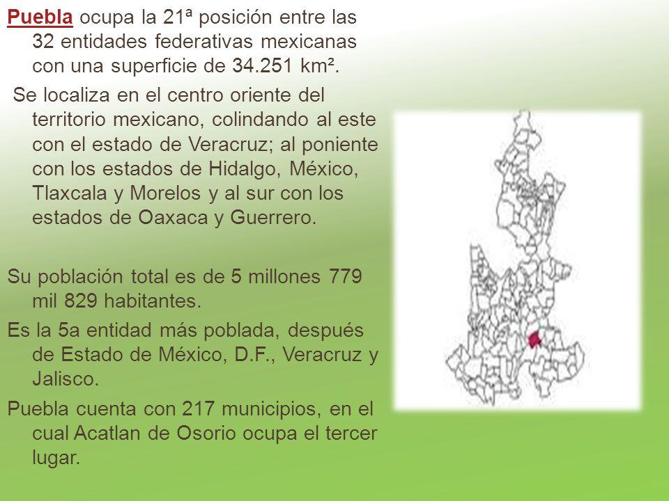 PueblaPuebla ocupa la 21ª posición entre las 32 entidades federativas mexicanas con una superficie de 34.251 km². Se localiza en el centro oriente del