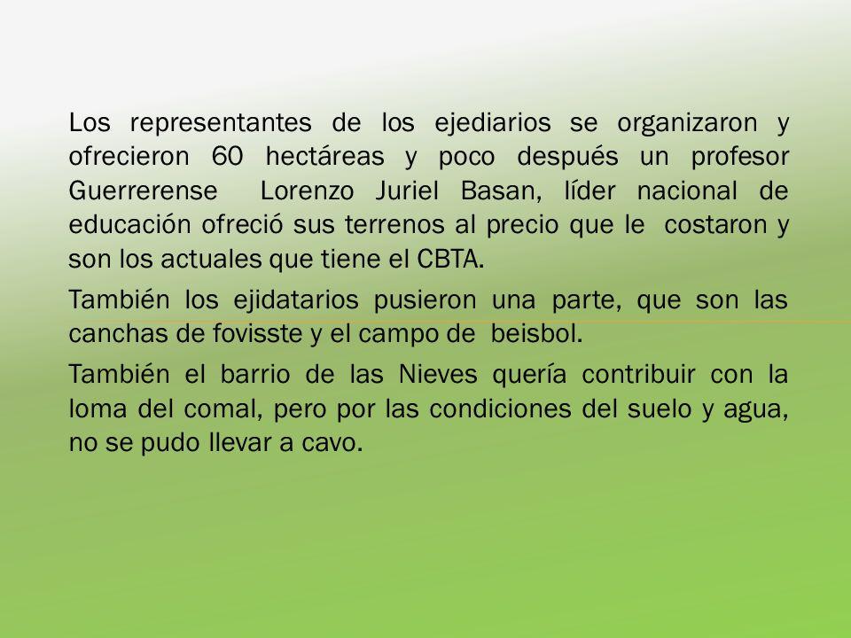 Los representantes de los ejediarios se organizaron y ofrecieron 60 hectáreas y poco después un profesor Guerrerense Lorenzo Juriel Basan, líder nacio