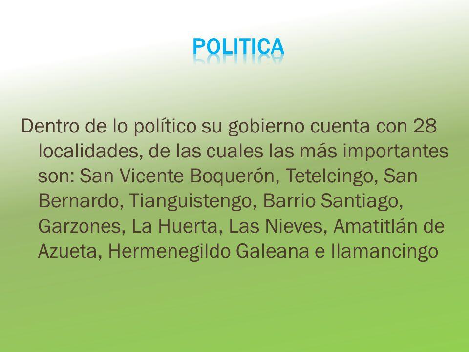Dentro de lo político su gobierno cuenta con 28 localidades, de las cuales las más importantes son: San Vicente Boquerón, Tetelcingo, San Bernardo, Ti