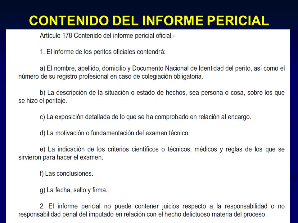 CONTENIDO DEL INFORME PERICIAL