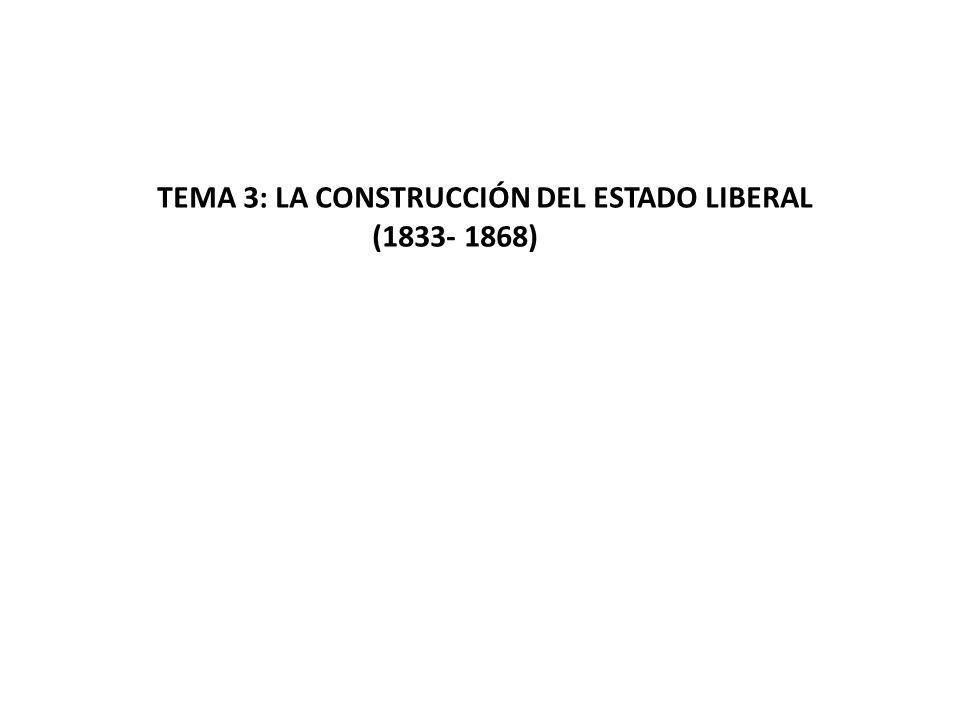 TEMA 3: LA CONSTRUCCIÓN DEL ESTADO LIBERAL (1833- 1868)