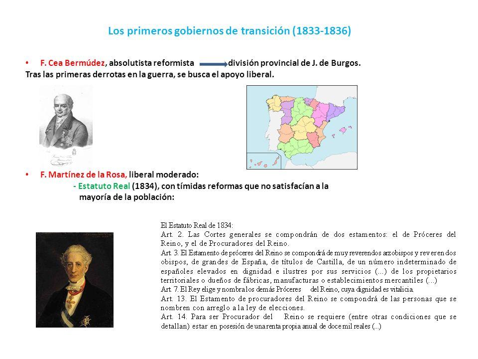 Los primeros gobiernos de transición (1833-1836) F. Cea Bermúdez, absolutista reformista división provincial de J. de Burgos. Tras las primeras derrot