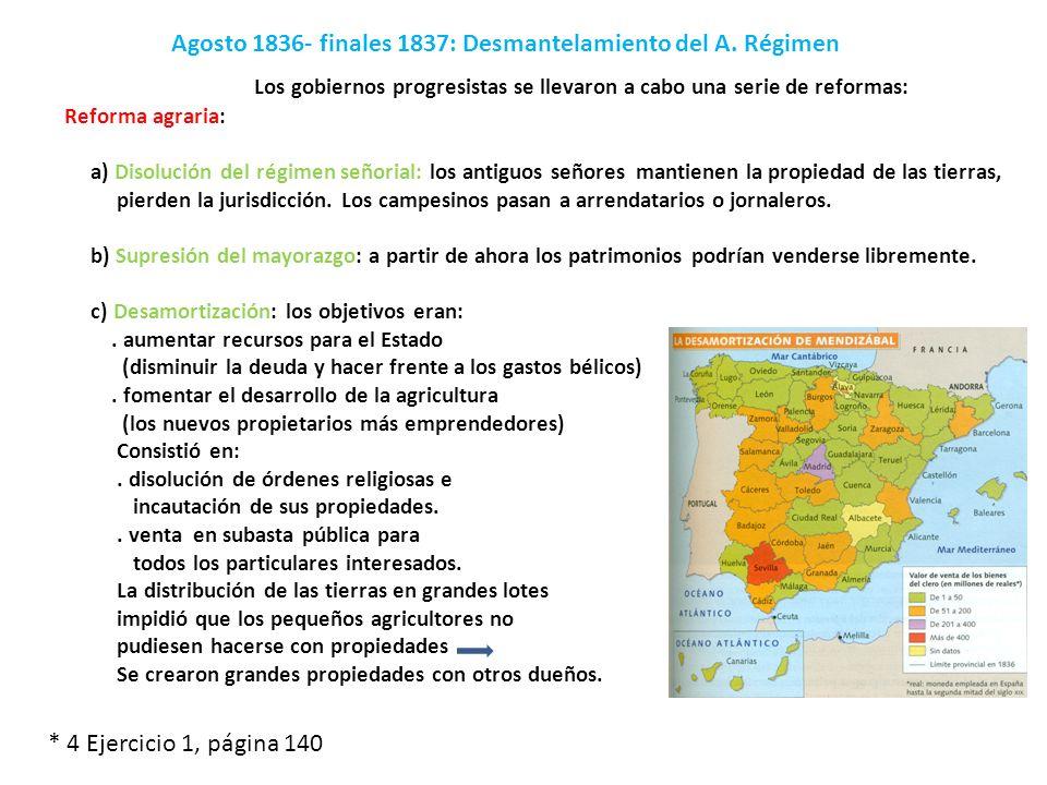 Agosto 1836- finales 1837: Desmantelamiento del A. Régimen Reforma agraria: a) Disolución del régimen señorial: los antiguos señores mantienen la prop