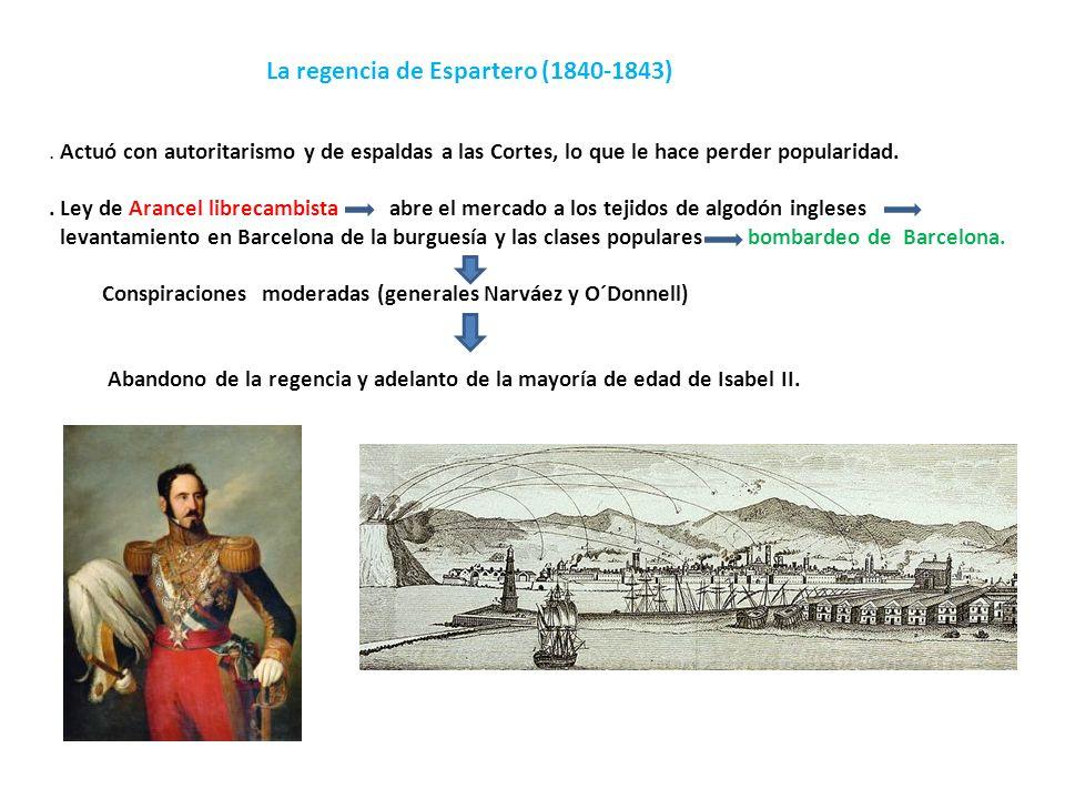 La regencia de Espartero (1840-1843). Actuó con autoritarismo y de espaldas a las Cortes, lo que le hace perder popularidad.. Ley de Arancel librecamb
