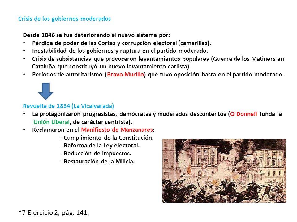 Crisis de los gobiernos moderados Desde 1846 se fue deteriorando el nuevo sistema por: Pérdida de poder de las Cortes y corrupción electoral (camarill