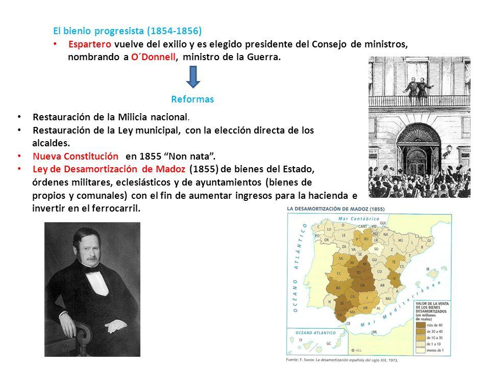 El bienio progresista (1854-1856) Espartero vuelve del exilio y es elegido presidente del Consejo de ministros, nombrando a O´Donnell, ministro de la