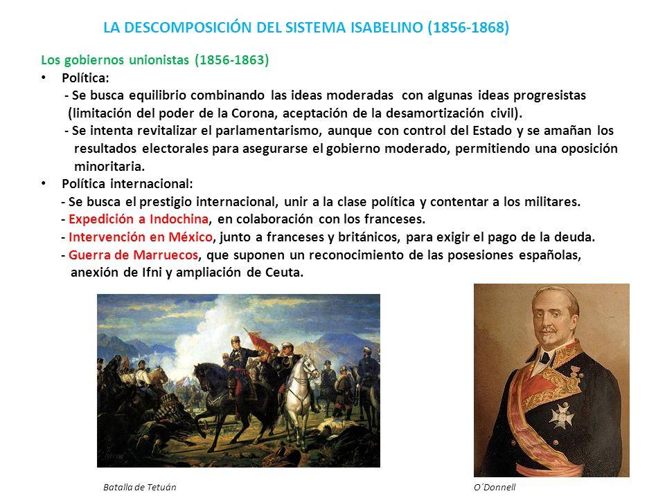 LA DESCOMPOSICIÓN DEL SISTEMA ISABELINO (1856-1868) Los gobiernos unionistas (1856-1863) Política: - Se busca equilibrio combinando las ideas moderada