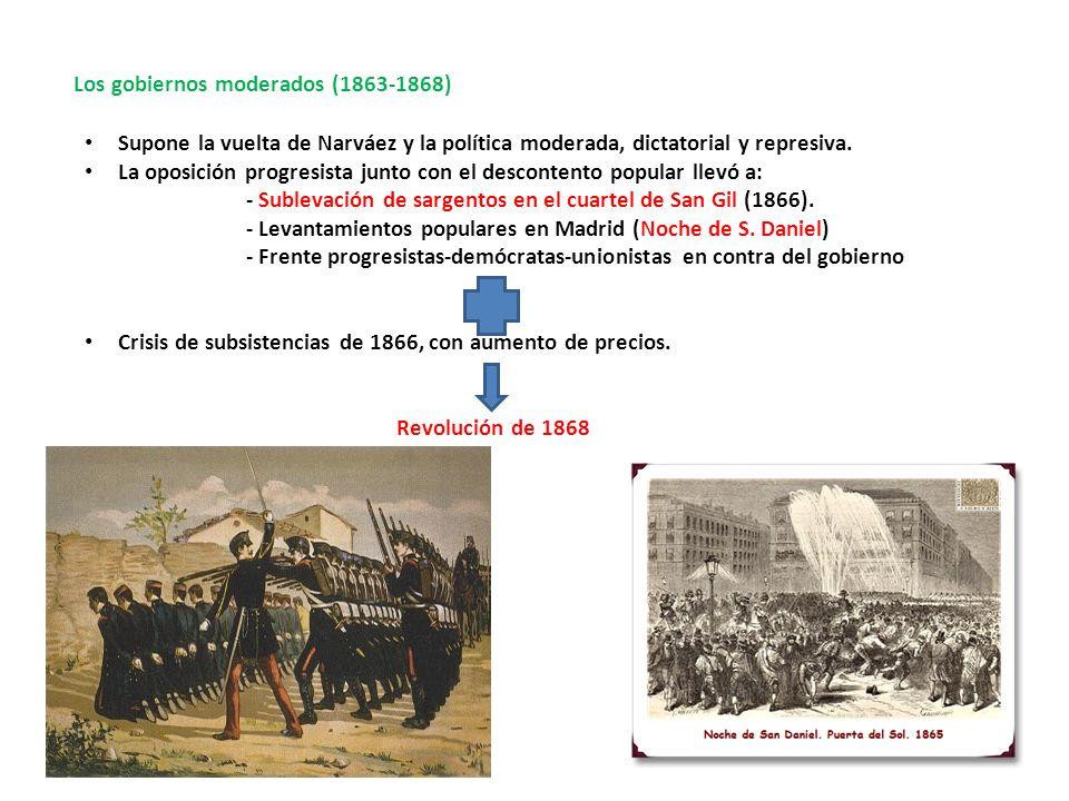 Los gobiernos moderados (1863-1868) Supone la vuelta de Narváez y la política moderada, dictatorial y represiva. La oposición progresista junto con el