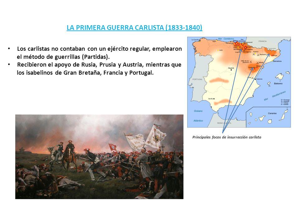 LA PRIMERA GUERRA CARLISTA (1833-1840) Principales focos de insurrección carlista Los carlistas no contaban con un ejército regular, emplearon el méto