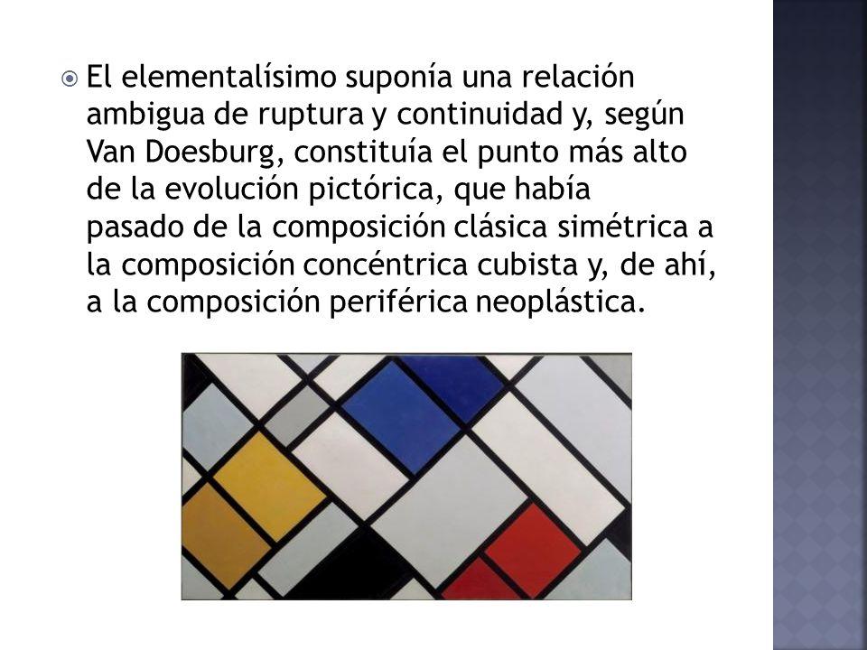 El elementalísimo suponía una relación ambigua de ruptura y continuidad y, según Van Doesburg, constituía el punto más alto de la evolución pictórica,