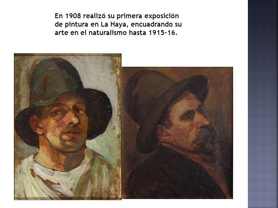 En 1908 realizó su primera exposición de pintura en La Haya, encuadrando su arte en el naturalismo hasta 1915-16.