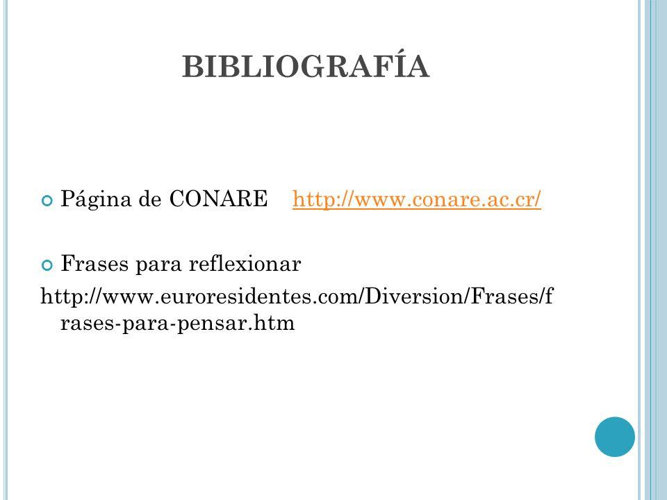 BIBLIOGRAFÍA Página de CONARE http://www.conare.ac.cr/http://www.conare.ac.cr/ Frases para reflexionar http://www.euroresidentes.com/Diversion/Frases/