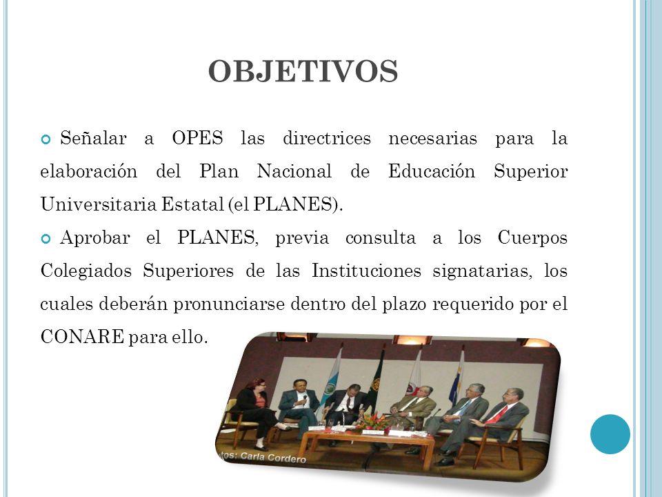 OBJETIVOS Señalar a OPES las directrices necesarias para la elaboración del Plan Nacional de Educación Superior Universitaria Estatal (el PLANES). Apr