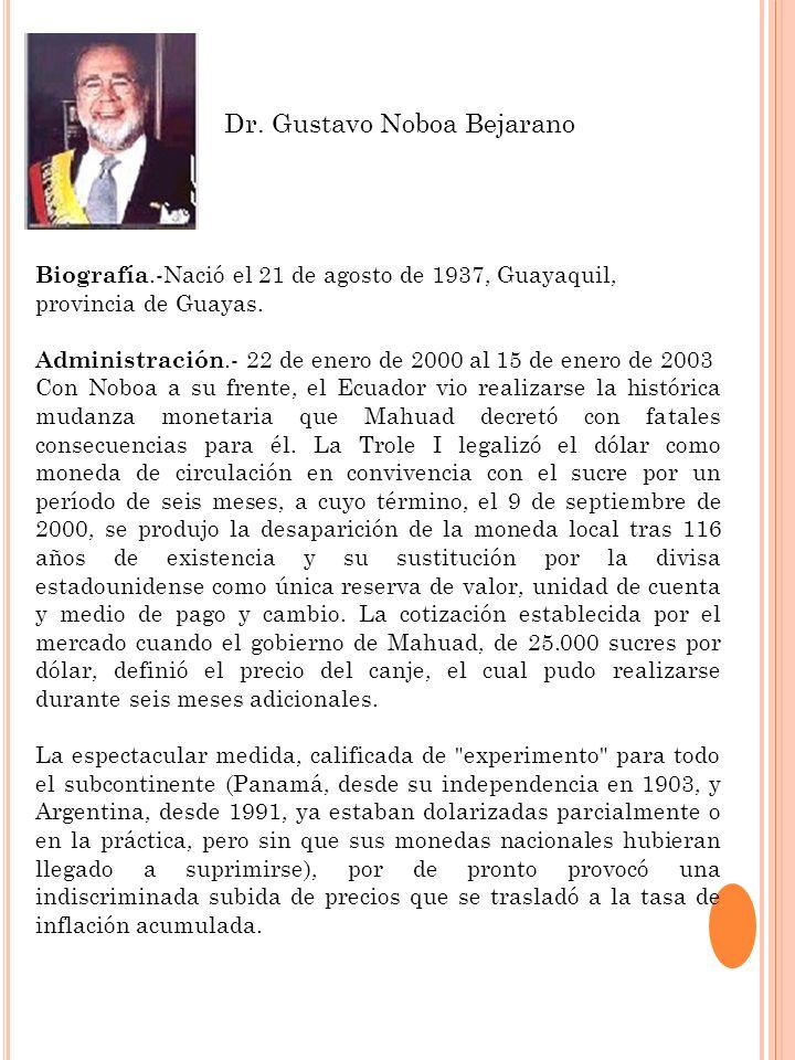 Biografía.-Nació el 21 de agosto de 1937, Guayaquil, provincia de Guayas. Administración.- 22 de enero de 2000 al 15 de enero de 2003 Con Noboa a su f