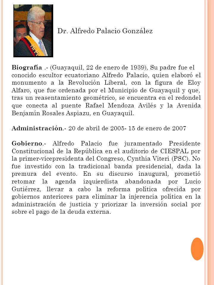 Biografía.- (Guayaquil, 22 de enero de 1939), Su padre fue el conocido escultor ecuatoriano Alfredo Palacio, quien elaboró el monumento a la Revolució