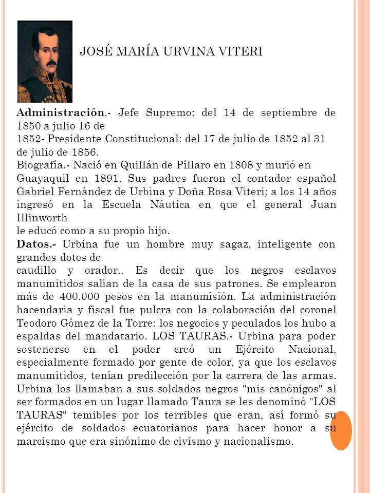 Administración.- Jefe Supremo: del 14 de septiembre de 1850 a julio 16 de 1852- Presidente Constitucional: del 17 de julio de 1852 al 31 de julio de 1