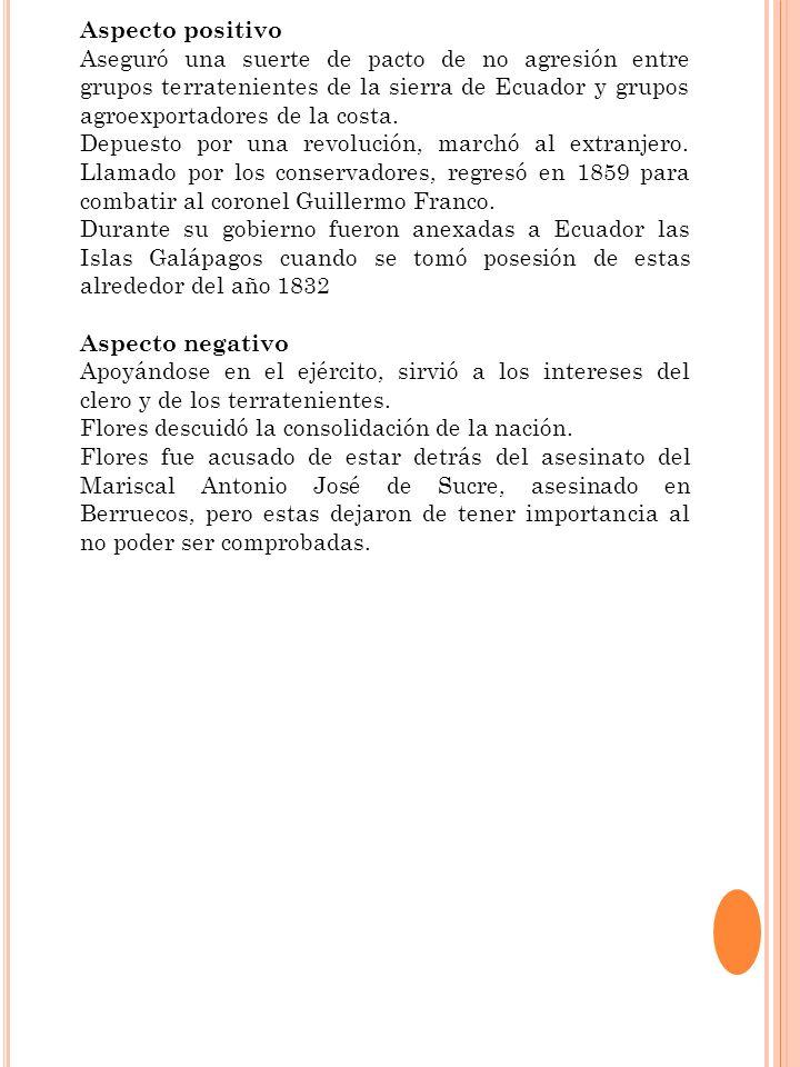 Aspecto positivo Fundó la Cámara de Comercio de Guayaquil y fue miembro de los bomberos en su ciudad natal.