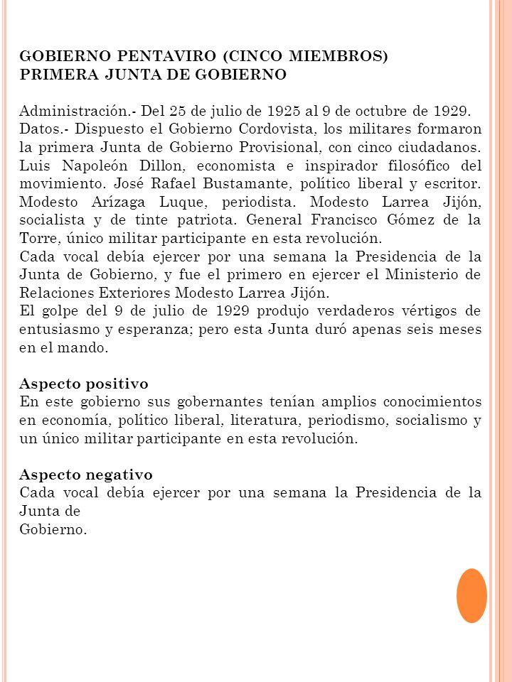 GOBIERNO PENTAVIRO (CINCO MIEMBROS) PRIMERA JUNTA DE GOBIERNO Administración.- Del 25 de julio de 1925 al 9 de octubre de 1929. Datos.- Dispuesto el G