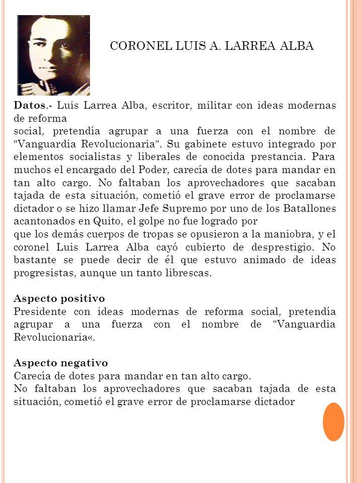 Datos.- Luis Larrea Alba, escritor, militar con ideas modernas de reforma social, pretendía agrupar a una fuerza con el nombre de