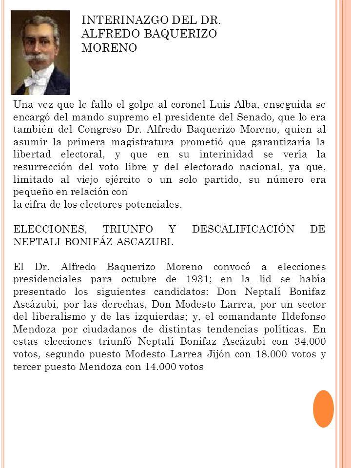Una vez que le fallo el golpe al coronel Luis Alba, enseguida se encargó del mando supremo el presidente del Senado, que lo era también del Congreso D